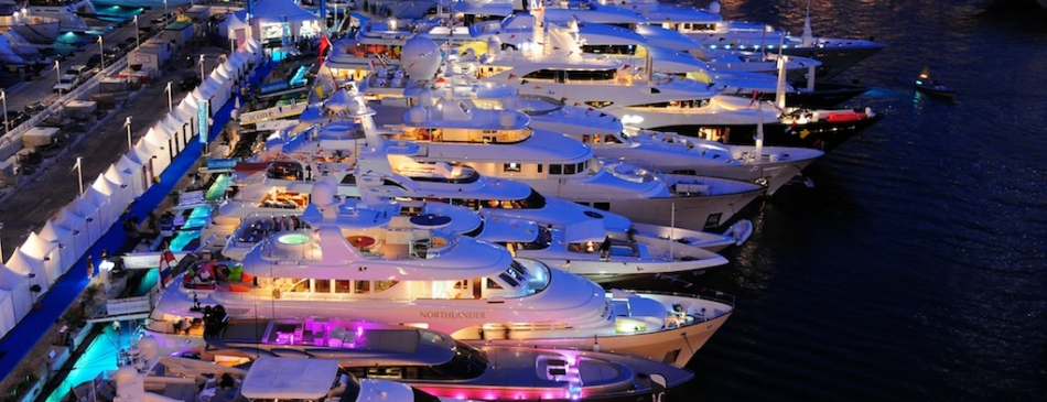 Night View Of The Monaco Yacht Show 2009