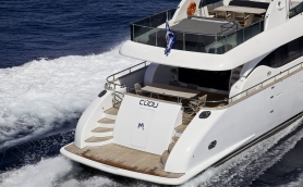 Luxury Motor Yacht Cudu Underway Stern View